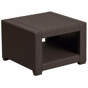 Flash Furniture Chocolate Brown Faux Rattan End Table New