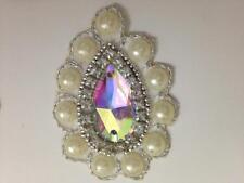Apliques de perlas de plata Marfil, ribete Motif,, recorte, Lentejuelas, perlas (4.5cm X 6cm)