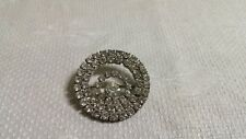 Vintage Monet Silvertone Metal Clear Crystal Encrusted Circle Brooch Pin