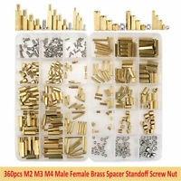 360Pcs M2 M3 M4 Brass Male Female Standoff Spacer Hex Screws Bolts Nuts Set