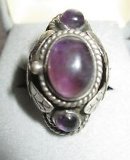 Vintage Signed Mexico Sterling Silver Amethyst Poison Ring Adjustable