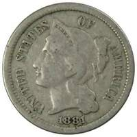 1881 Three Cent Piece About Good Nickel 3c US Type Coin Collectible