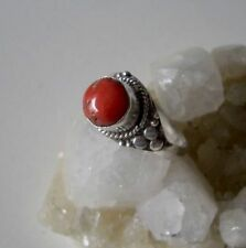 Ring mit Koralle, 925er Silber - Tibet - Grösse 19,1