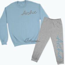 Personalised Name Loungewear Tracksuit Sweatshirt Sweatpants Kids Blue Pink TR1