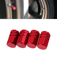 4 X Aluminium Reifen Felgen Vorbau Luftventilkappen Reifenabdeckung Auto Rot