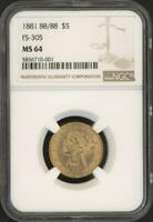 1881 $5 Five Dollars Liberty Head Gold Coin (NGC MS 64)