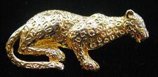 Vintage Goldtone CROUCHING LEOPARD Jungle CAT PIN/Brooch,FJT