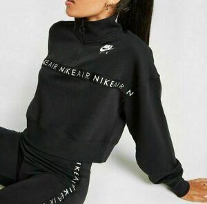 Nike Air Women's 1/2 Zip Crop Sweatshirt Top SZ MEDIUM Black White CV8578 010