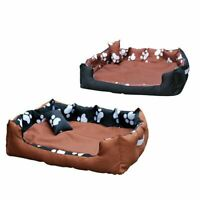 WASHABLE PAW PRINT PET DOG/PUPPY/CAT/KITTEN BED SUPER SOFT CUSHION BASKET SOFA