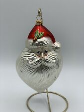 Polonaise Large Bearded Santa Blown Glass Christmas Holiday Tree Ornament