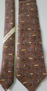Salvatore Ferragamo Brown/Blue Animal Print FOX/RABBIT/DUCK Silk Necktie Tie