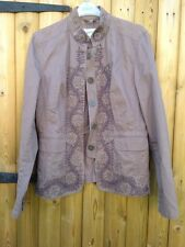 Next Vintage Embroidered Hippie Brown Mink Jacket Coat Blazer 12
