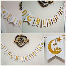 EID MUBARAK/RAMADAN decorations Bunting Banner gold glitter luxury Handmade