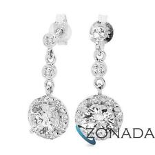 Classic Round Simulated Diamond 925 Sterling Silver Drops Earrings 35526/*