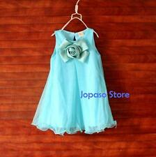 Flower Girl Lace Vintage Tutu Lace White Blue Dress For Party Wedding Christmas