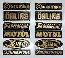 Carbon - Gold Brembo Öhlins Akrapovic Motorsport Sponsoren Aufkleber Racing Set