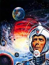 La PITTURA surreale Fantasy Sci Fi Tuta Spaziale CASCO Rocket PIANETA USA Stampa cc986