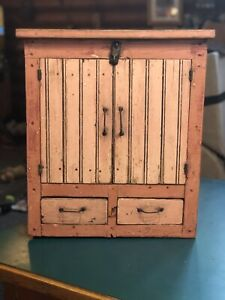 """Antique 1880s Primitive Red Paint Small Cupboard Cabinet Double Door 21"""" Tall"""