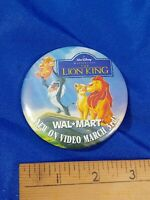 Lion King Wal Mart 90s Disney PINBACK VIDEO VTG VHS PROMO STORE Disney 90s New