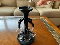 6 Shot Liquor Dispenser - Includes Glasses - Pours 6 Shots At Once!