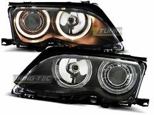Headlights for BMW 3 Series E46 01-05 Angel Eyes Black UK RHD/LHD LPBM86-ED XINO