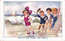 POSTCARD  COMIC   CHILDREN      Seaside  Beaux     SPURGIN