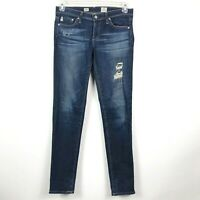 AG Adriano Goldschmied 27R Stilt Cigarette Leg Dark Wash Distressed Skinny Jeans