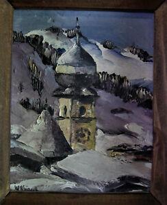 Paar alte Ölminiaturen um 1930 - Landschaften TIROL AURACHER KIRCHL +1  signiert
