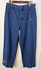 Disney Store Womens Jeans Vintage Wide Leg Embroidered Mickey Mouse Size L