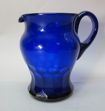 Fine Early American Pittsburgh FACETED COBALT Art Glass Pitcher  c. 1840 antique