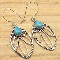 Collectible Simulated LARIMAR Tribal Earrings ! Silver Plated Over Solid Copper