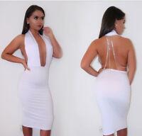 White Rhinestone Plunge Celeb Style Bodycon Backless Dress Boutique Sizes S-XL