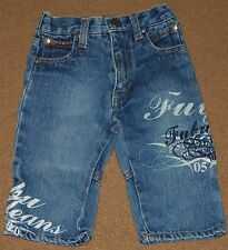 Boys FUBU The Collection Blue JEANS Size 12 Months Logo Embroideries Print