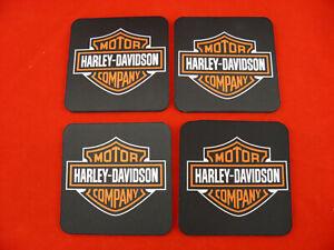 4 x Neoprene Drink Coasters Harley Davidson Shield YOUR DESIGN OR LOGO