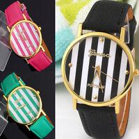 Geneva Watch Woman Casual Dress Watch Stripes Leather Analog Quartz Wrist Watch