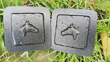 """Set Horse tile plastic molds plaster cement casting mould 4"""" x 4"""" x 1/3"""" thick"""