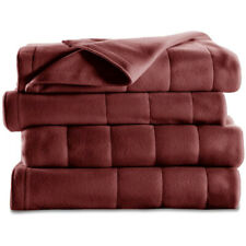 Sunbeam Twin Size Quilted Fleece Heated Blanket with 10 Heat Settings, Garnet