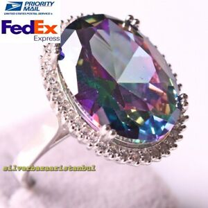 Turkish 925 Sterling Silver Heavy Tourmaline Stone Oval Ladies Womans Ring Size