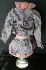 Sweet! Vintage Pink and Gray Antique style Doll Dress for your Bisque Doll 1984