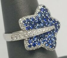 18K GOLD HIGH QUALITY DIAMOND SAPPHIRE 2.15CT COCKTAIL STAR RING SIZE  6.5