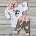 Newborn Kids Baby Girls Romper Jumpsuit Bodysuit Clothes Infant 3pcs Outfits Set