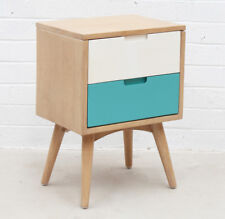 Retro Modern Design Natural Timber 2 Drawer Nightstand Bed Side Lamp Table