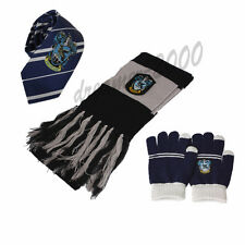 3pcs Harry Potter Ravenclaw Necktie Tie Scarf Gloves Cosplay Costume Xmas Gift
