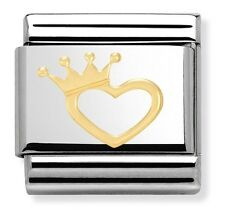 18ct Gold HEART & CROWN Tiara - GENUINE NOMINATION CLASSIC Italian Charm - LOVE