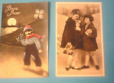 2 CARTOLINE BUON ANNO - BIMBE - OLANDESINA - ANNI '30