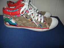 Coach Zoe Canvas Sneakers Khaki Beige Multi-Color Poppy Red Sz 7 Ankle Shoes GUC
