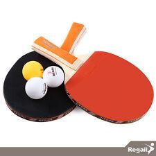 REGAIL - Set de 2 Paletas / Raquetas de Tenis de mesa + 3 pelotas Ping Pong A508