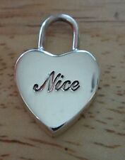 Sterling Silver 3D 24x15mm Engravable Heart Lock says Nice Charm