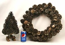 Vintage Cone Wreath & Matching Tree Rustic Christmas Wreath Natural Cabin Lodge