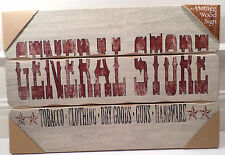 General Store Wooden Wall Sign Plaque Tobacco Clothing Guns Hardware